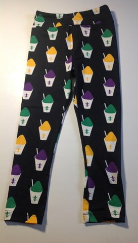 Black Leggings with Purple, Green, and Gold Snowballs (Each)