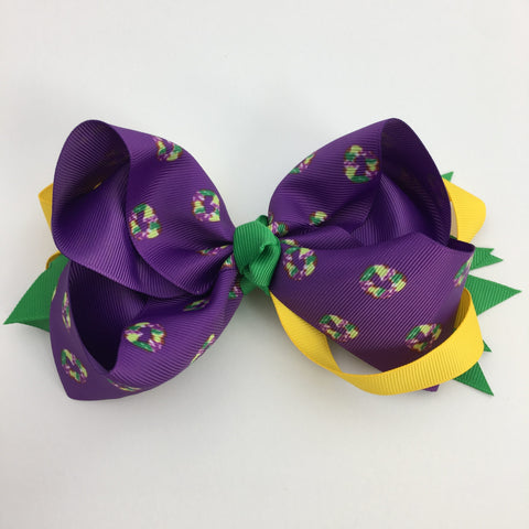 Mardi Gras King Cake Hair Bow (Each)