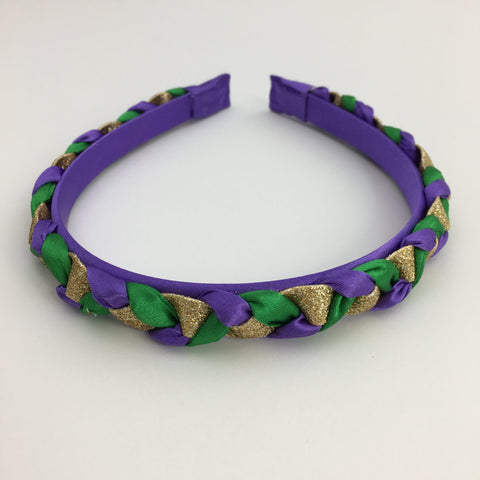 Purple, Green and Gold Braided Headband (Each)