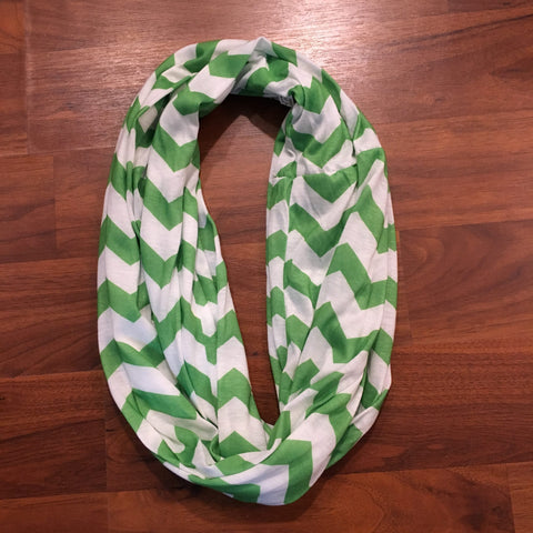 Green and White Chevron Infinity Scarf (Each)