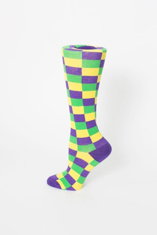Purple, Green and Yellow Checkerboard Knee-Hi Socks (Pair)