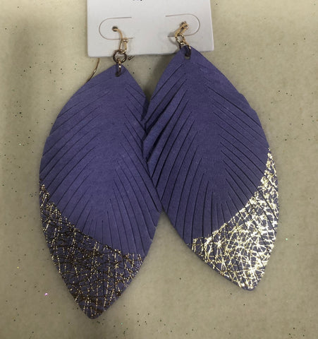 Lavender Feather with Gold Dipped Fringe (Each)