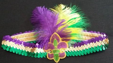 Purple, Green and Gold Sequin Headband with Fleur de Lis and Feathers (Each)
