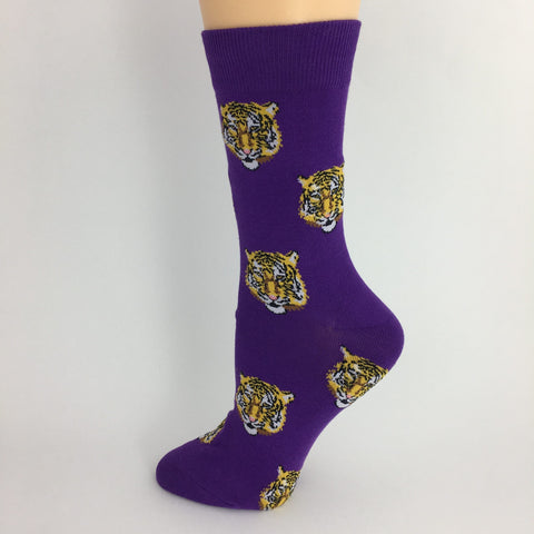 Tigers on Purple Socks (Pair)