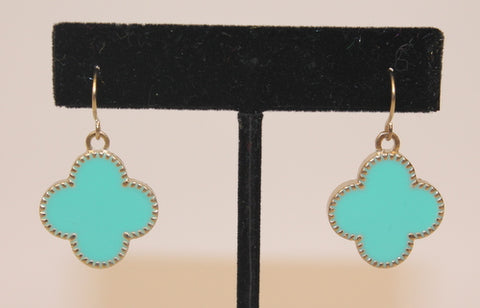 Clover Earrings Turquoise and Gold (Pair)