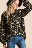 Black and Gold Leopard Print Shirt with Balloon Sleeves (Each)