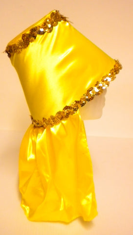 Yellow Costume Hat with Gold Sequin Trim (Each)