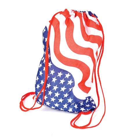 "15"" Stars and Stripes Drawstring Backpack (Dozen)"