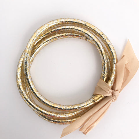 Gold and Silver Crackle Bangle Bracelets (Set of 3)