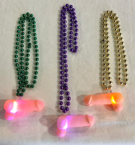 "36"" 10mm LED Penis on Assorted Purple, Green, and Gold Necklace (Each)"