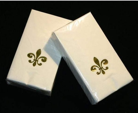 Metallic Gold Fleur de Lis on Ivory Guest Towel (25 Pack)
