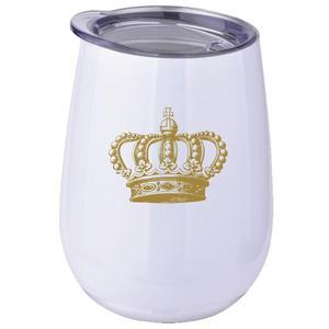 White Stainless Stemless Wine Tumbler with Crown 10oz (Each)