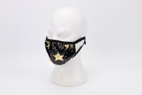 Gold Stars and Black Sequins on Black Mask with Adjustable Straps (Each)