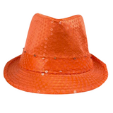 Neon Orange LED Fedora with 14 White Lights (Each)