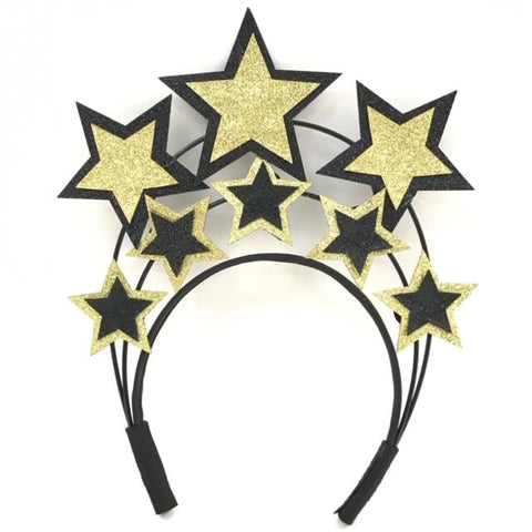 Black and Gold Stars Headband (Each)