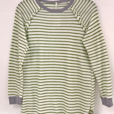 Green and White French Terry Stripe Long Sleeve Shirt (Each)