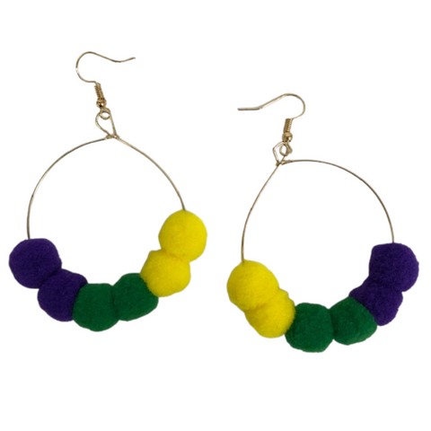 Mardi Gras Pom Pom Earrings (Pair)