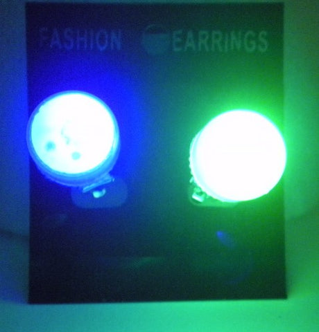 LED Earrings with Purple, Green and Yellow Lights