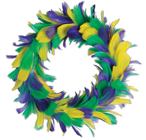 "8"" Purple, Green and Gold Feather Wreath (Each)"