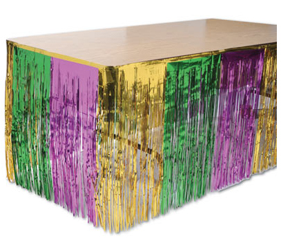 Purple, Green and Gold Metallic Table Skirt 11' x 5.5' (Each)