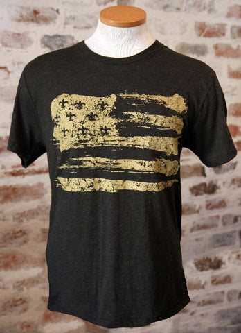 Gold Fleur de Lis Flag Vintage Black Unisex T-Shirt (EACH)