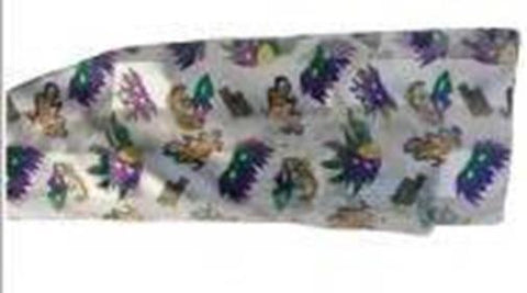 White Scarf with Purple, Green, and Gold Mardi Gras Masks (Each)