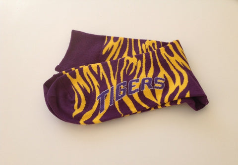 Purple and Gold Tiger Stripe Socks - Large (Each)
