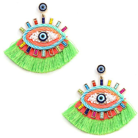 Neon Green Wildflower Evil Eye Earrings (Pair)