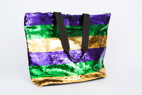 Purple, Green and Gold Stripe Sequin Tote (Each)