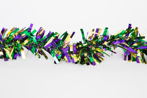 9' Purple, Green and Gold Tinsel Garland (Each)
