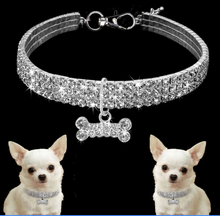 Load image into Gallery viewer, Shiny Crystal Bling Rhinestones Adjustable Necklace for Small Dog - bcool pets