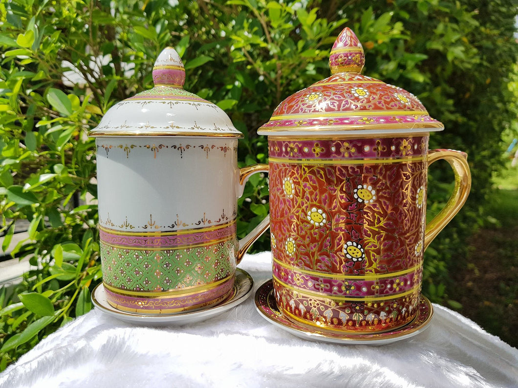 Benjarong Thai Chakri and Jasmine flowers Lover set (approximately 80 USD)