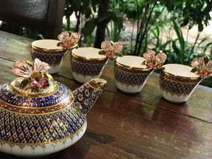 Benjarong Orchids Golden Leaves Pikul Flower set (approximately 180 USD)