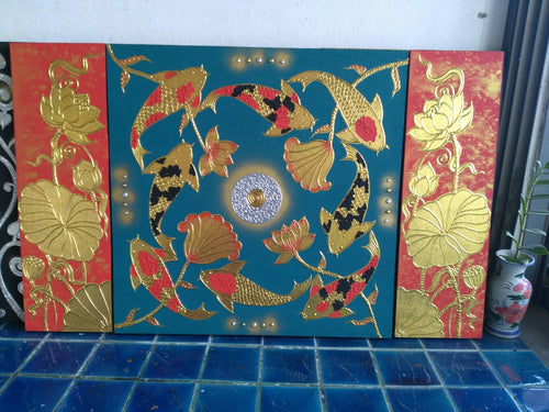 The image of Buddhist art Fancy carp blue-red background (3 pictures in set)