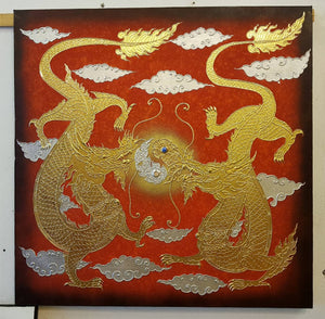 The image of Buddhist art Double dragon red background