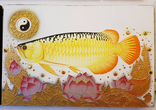 The image of Buddhist art Gold Fish white background