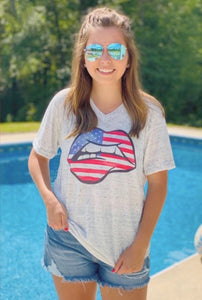 Red White & Blue Lips Tee