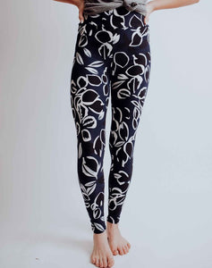 Navy Lotus Leggings