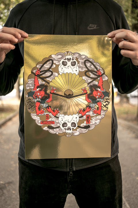 Oni and skulls on gold, print by Manekistefy