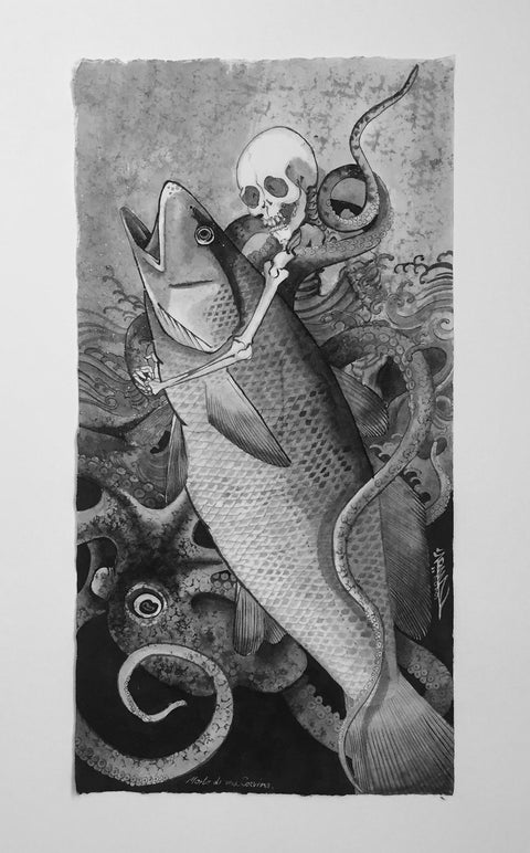 """Morte di un corvina"", original painting by Crez"