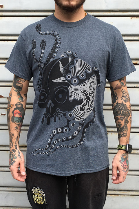 Skull with snakes, T-shirt by Crez