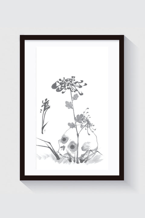 Skull and flower, original painting by Crez