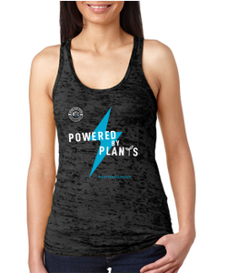 """Powered By Plants"" Ladies' Burnout Racerback Tank (Next Level)"