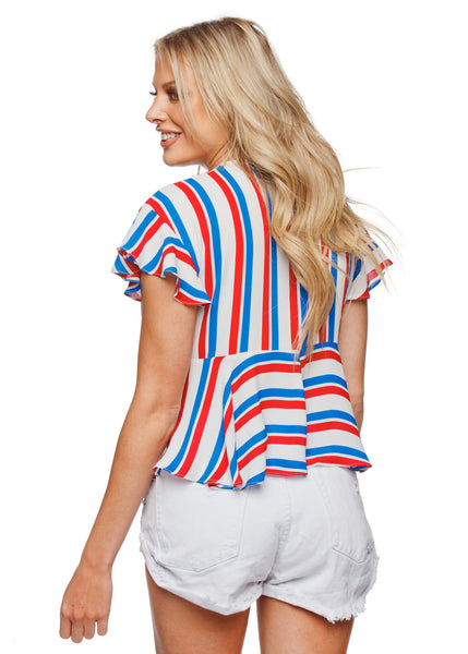 Striped Patriotic Ruffle Top