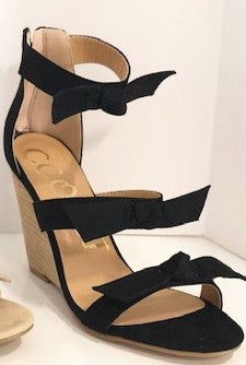 Bow Tie Wedge Sandal - Black