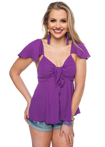 Flirty Ruffle Top - Purple