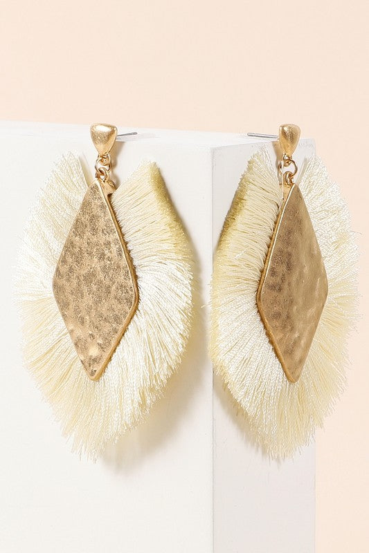 Diamond Fringe Earrings - Ivory