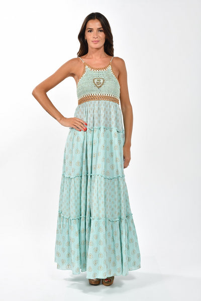 Crocheting Top Maxi Dress