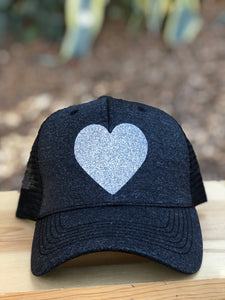 Glittered  Heart Trucker Hat