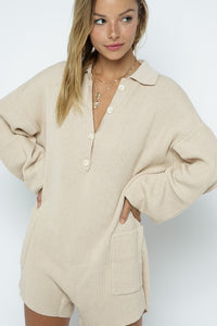 Beige Ribbed Knit Romper